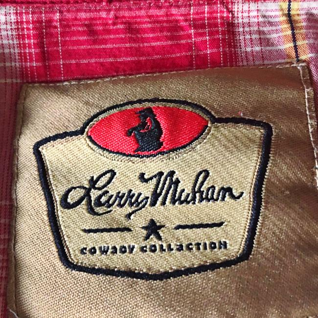 Larry Mahan Rodeo Shirt Cowboy Plaid Pearl Buttons Button Down Shirt red Image 5