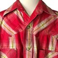 Larry Mahan Rodeo Shirt Cowboy Plaid Pearl Buttons Button Down Shirt red Image 7