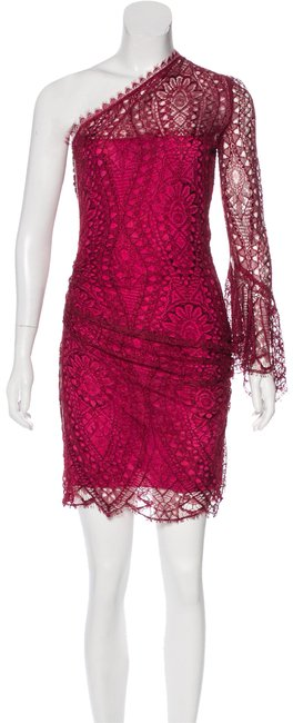 Preload https://img-static.tradesy.com/item/23730202/emilio-pucci-magenta-one-shoulder-lace-short-cocktail-dress-size-4-s-0-2-650-650.jpg