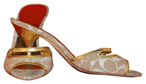 """Coach Tan & White 3"""" Gold Heels Gold Leather Trim Sandals"""