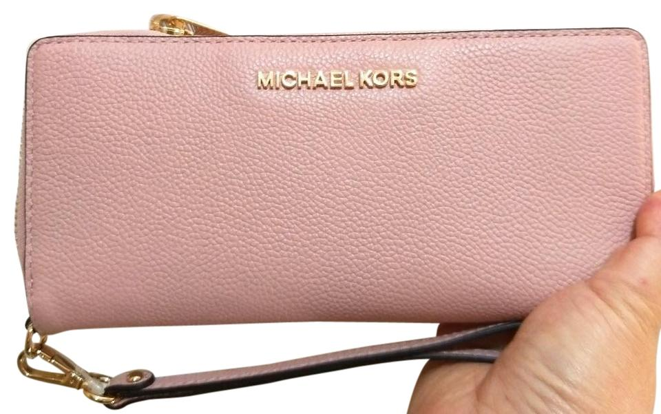 80e5cb0a123c41 Michael Kors Pestal Pink Jet Set Travel Leather Continental Wristlet Wallet