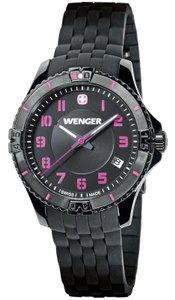 Wenger 01.0121.105 Squadron Women Black Rubber Band With Black Analog Watch