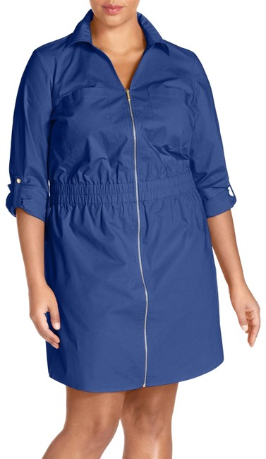 Preload https://img-static.tradesy.com/item/23730349/michael-michael-kors-royal-blue-cotton-poplin-zip-front-shirtdress-short-cocktail-dress-size-18-xl-p-0-1-650-650.jpg