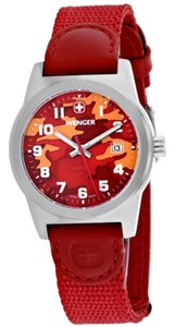 Wenger 01.0411.104 Classic Women Red Nylon Band With Red Analog Dial Watch