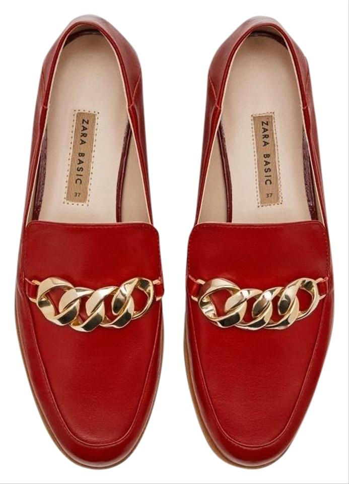 27d69379b71 Zara Burgundy Leather Loafers with Chain Details Mules Slides Size ...