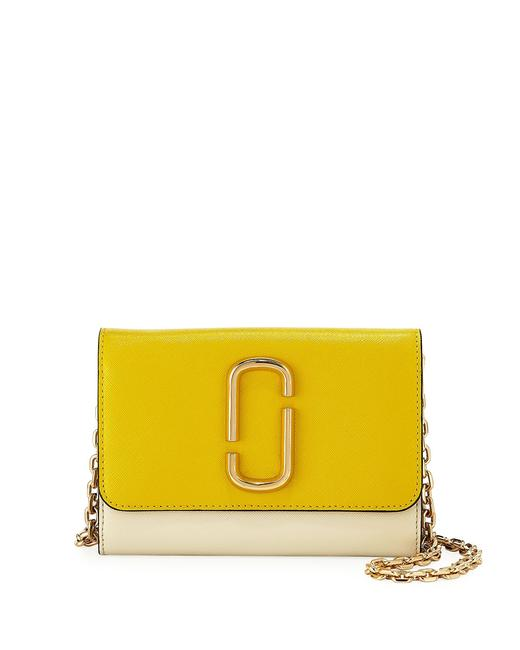 Item - Two-tone Saffiano Wallet On A Chain Multicolor Leather Shoulder Bag