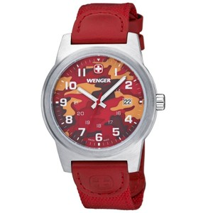Wenger 01.0441.111 Classic Men's Red Nylon Band With Red Analog Dial Watch