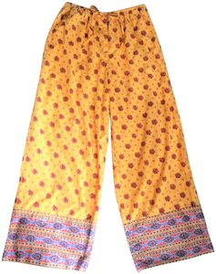 J. Peterman Print Szm Resort Wide Leg Pants Yellow and Red