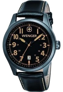 Wenger 01.0541.105 Terragraph Mens Black Leather Band With Black Analog Dial