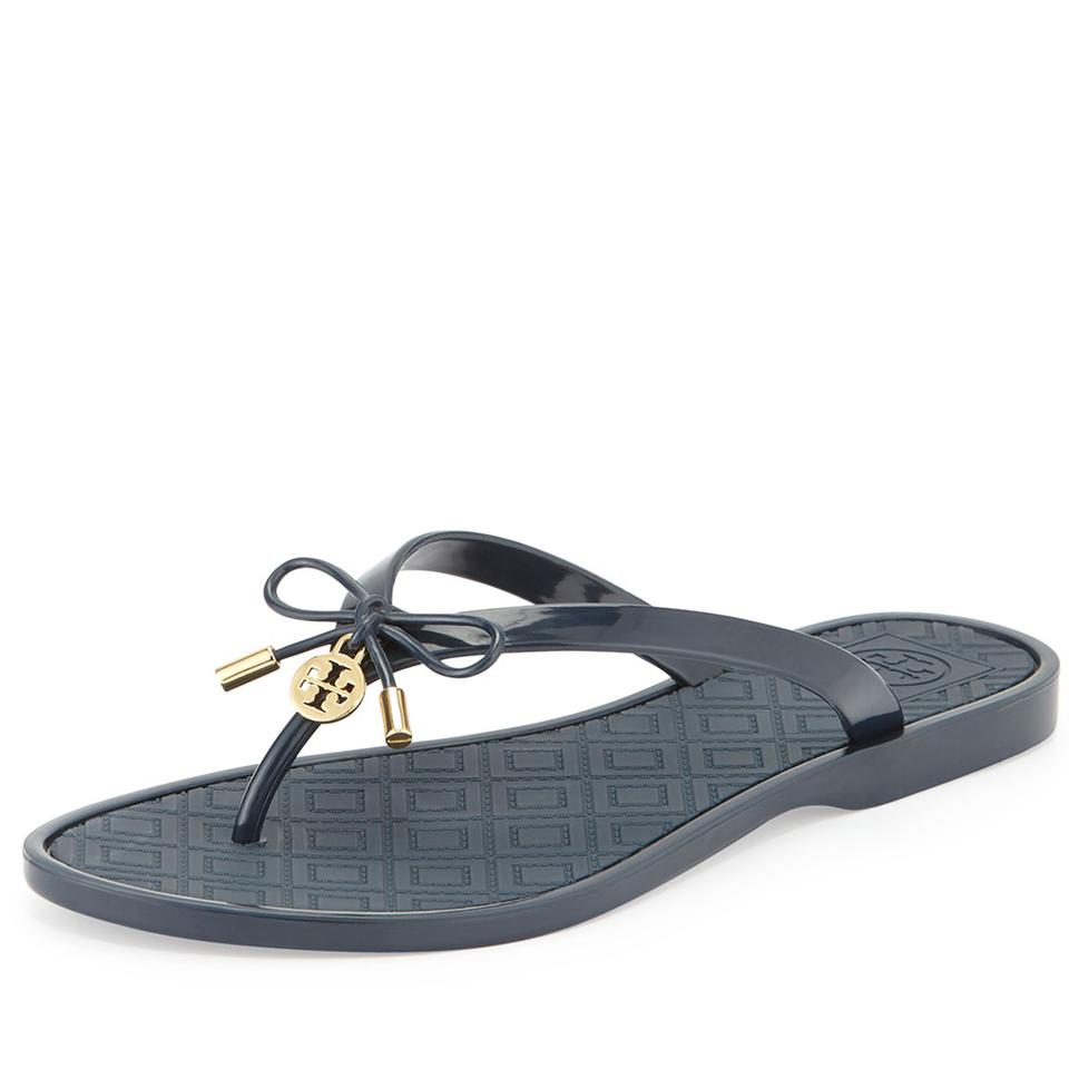 fec3f4df6e4 Tory Burch Navy Jelly Bow Logo-charm Thong Sandals Size US 5 Regular ...