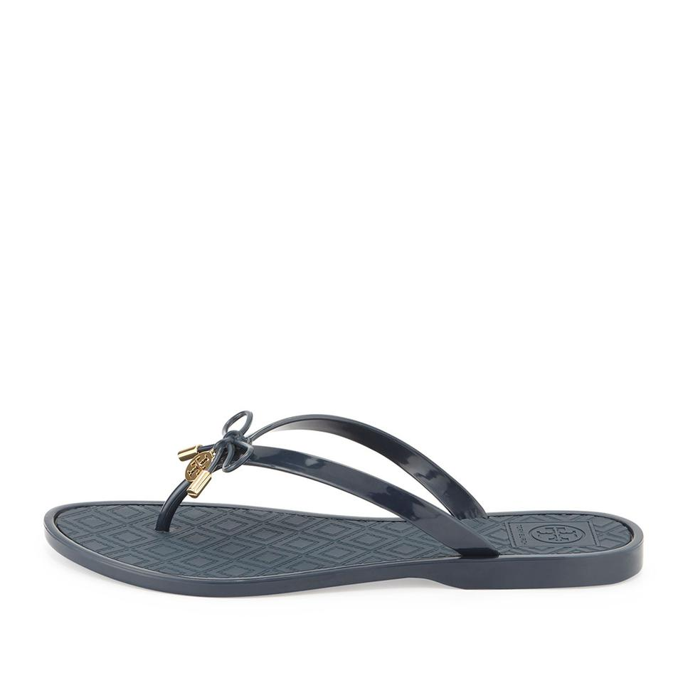 72d0000ce24 Tory Burch Navy Jelly Bow Logo-charm Thong Sandals Size US 5 Regular ...
