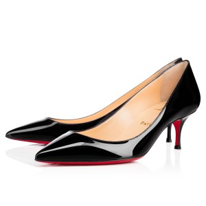 Christian Louboutin Pigalle Follies Patent Leather Heels Kitten Heel Black Pumps