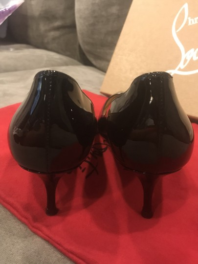Christian Louboutin Pigalle Follies Patent Leather Heels Kitten Heel Black Pumps Image 1