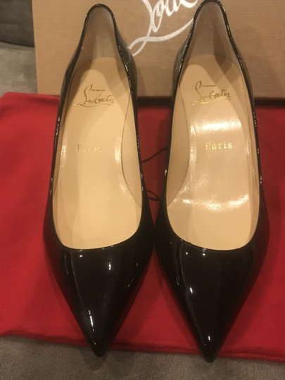 Christian Louboutin Pigalle Follies Patent Leather Heels Kitten Heel Black Pumps Image 11