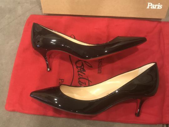 Christian Louboutin Pigalle Follies Patent Leather Heels Kitten Heel Black Pumps Image 4