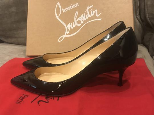 Christian Louboutin Pigalle Follies Patent Leather Heels Kitten Heel Black Pumps Image 7