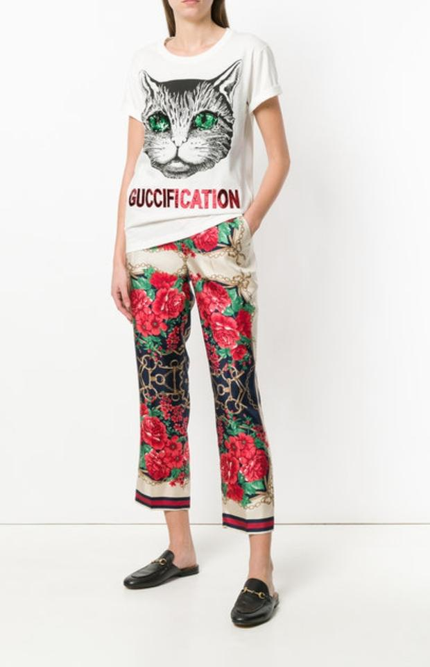 2ccc383c1 Gucci White Mystic Cat Embellished Guccification Tee Shirt Size 8 (M) -  Tradesy
