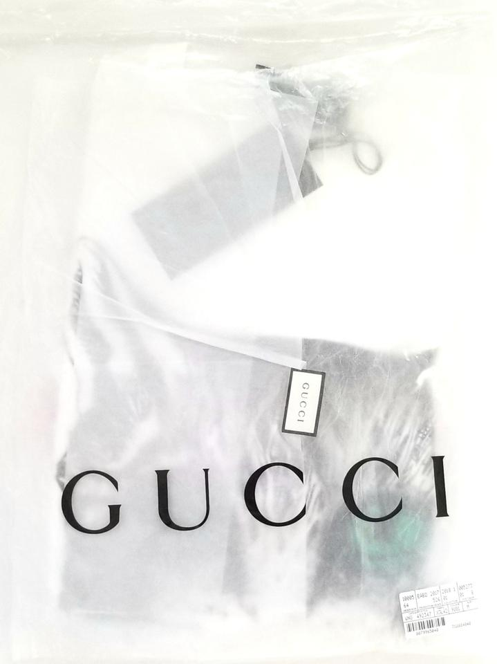 9596ae91ab90 Gucci White Mystic Cat Embellished Guccification Tee Shirt Size 8 (M) -  Tradesy