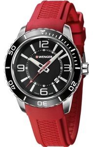 Wenger 01.0851.116 Roadster Men's Red Rubber Band With Black Analog Dial