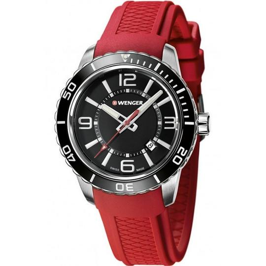 Wenger 01.0851.116 Roadster Men's Red Rubber Band With Black Analog Dial Image 1