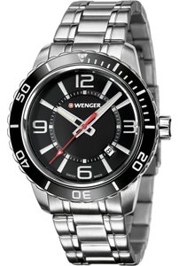 Wenger 01.0851.118 Roadster Men's Silver Steel Band With Black Analog Watch