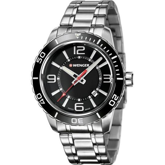 Wenger 01.0851.118 Roadster Men's Silver Steel Band With Black Analog Watch Image 1