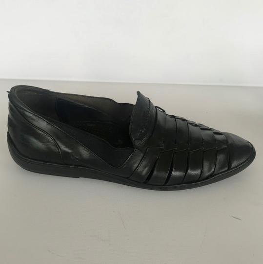 Cole Haan Leather Woven Sandals Mens BLACK Flats Image 2