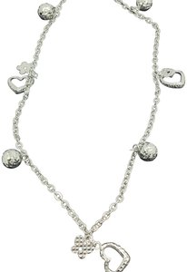 Other 18K White Gold Diamond Cut Heart and Ball Charms Anklet