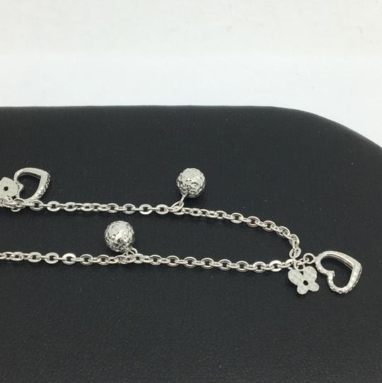 Other 18K White Gold Diamond Cut Heart and Ball Charms Anklet Image 1