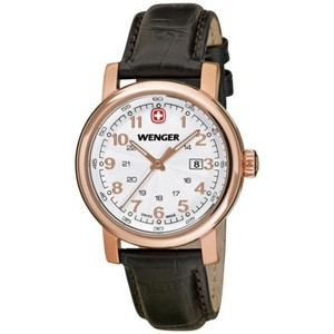 Wenger 01.1021.108 Urban Women's Black Leather Band With White Analog Watch