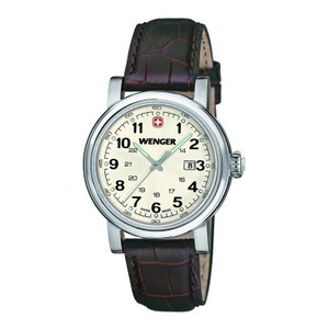 Wenger 01.1041.101 Urban Women's Brown Leather Band With White Analog Dial