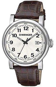 Wenger 01.1041.114 Urban Men's Brown Leather Band With White Analog Dial