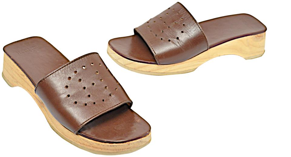 734fba409f5 Hermès Brown Chocolate Leather Wooden Platform