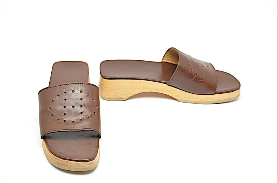719a5a84d5e Hermès Brown Chocolate Leather Wooden Platform