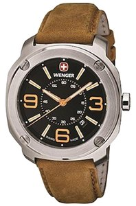 Wenger 01.1051.102 Men's Light Brown Leather Band With Black Analog Watch