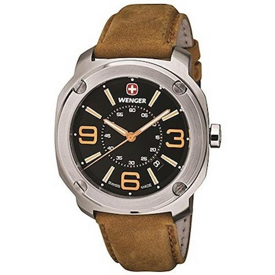 Wenger 01.1051.102 Men's Light Brown Leather Band With Black Analog Watch Image 1