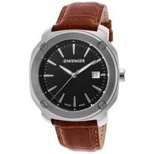 Wenger 01.1141.111 Edge Index Womens Brown Leather Band With Black Analog