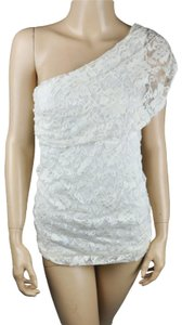 Studio Y short dress White Grecian One Shoulder Lace Floral on Tradesy