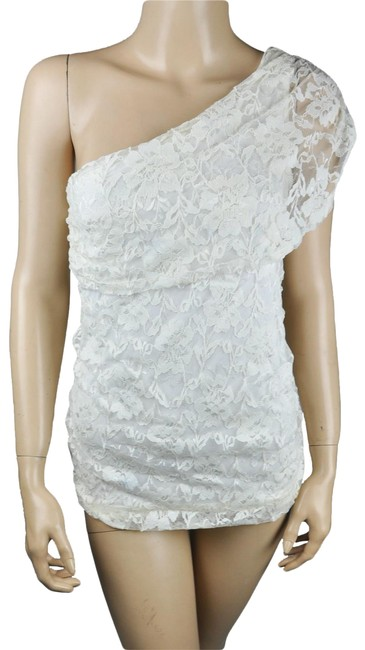 Item - White Lace One Shoulder Floral Grecian Top Short Casual Dress Size 6 (S)