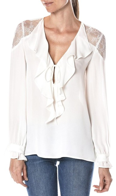 Item - White Silk Ruffle and Lace Blouse Size 8 (M)