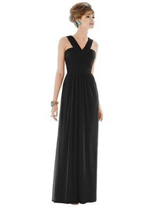 Alfred Sung Black Chiffon Shirred V-neck Gown Formal Bridesmaid/Mob Dress Size 6 (S)