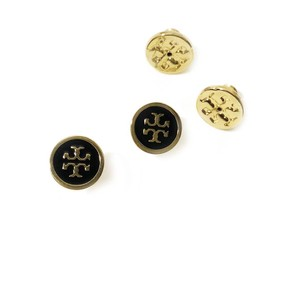 Tory Burch New Tory Burch Small Black Laquer Gold Logo Studs