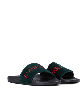 c6401f8ed Gucci Velvet Flops Red Embroidered Blind For Love Green Sandals
