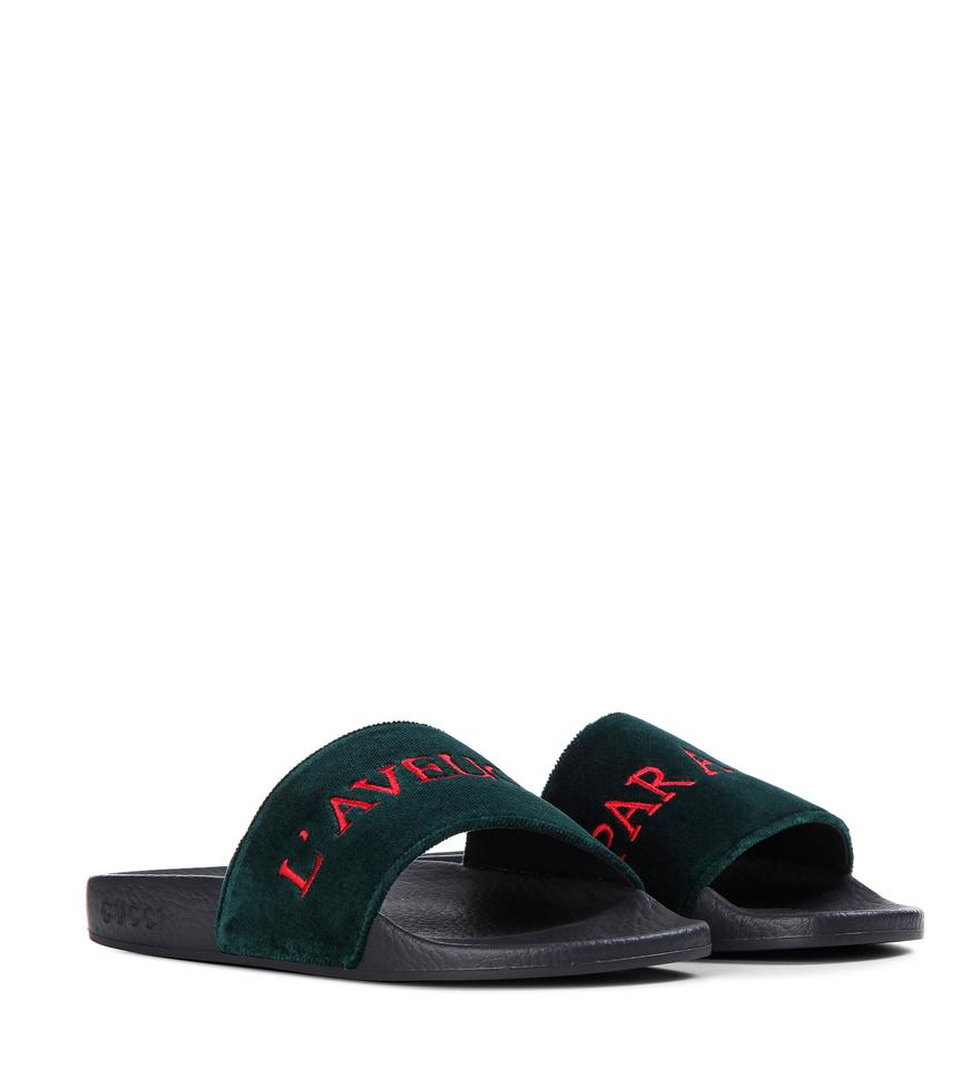 3c7044dea16c Gucci Velvet Flops Red Embroidered Blind For Love Green Sandals Image 0 ...