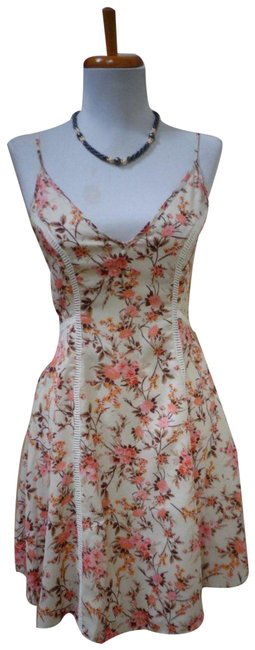 Item - Ivory Floral Polyester Short Work/Office Dress Size 2 (XS)