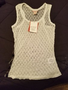 Guess Knit Top White with black striped sides