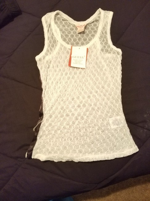 Guess Knit Top White with black striped sides Image 3