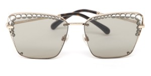 Chanel CHANEL Square Sunglasses Light Brown Lens Pearls Gold Frame 4235H 2018