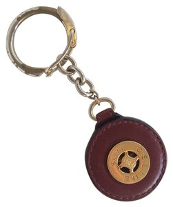 Cline Authentic Celine Red and Gold Italian Leather Keychain