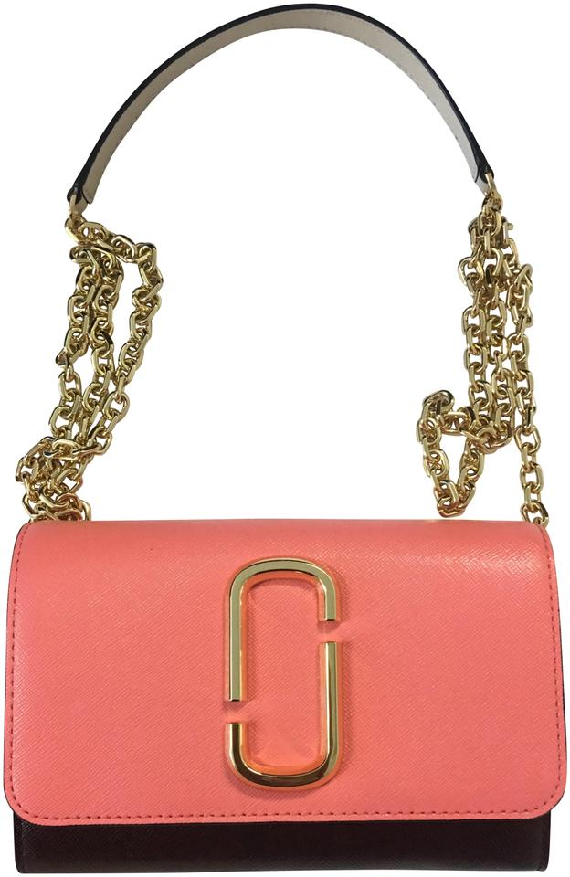 11bcf07833d1 Marc Jacobs Two-tone Saffiano Wallet On A Chain Coral Multi Leather  Shoulder Bag